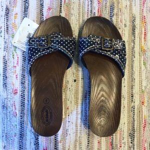 8 Dr. Scholl's Navy Blue Polka Dot Sandals